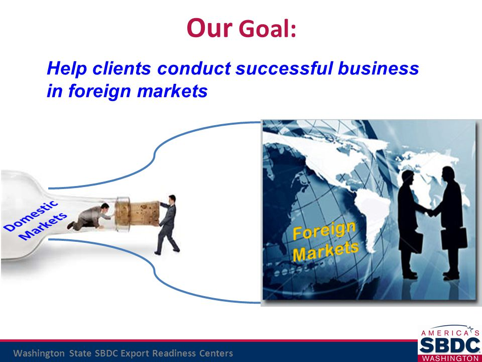 Our Goal: Help clients conduct successful business in foreign markets