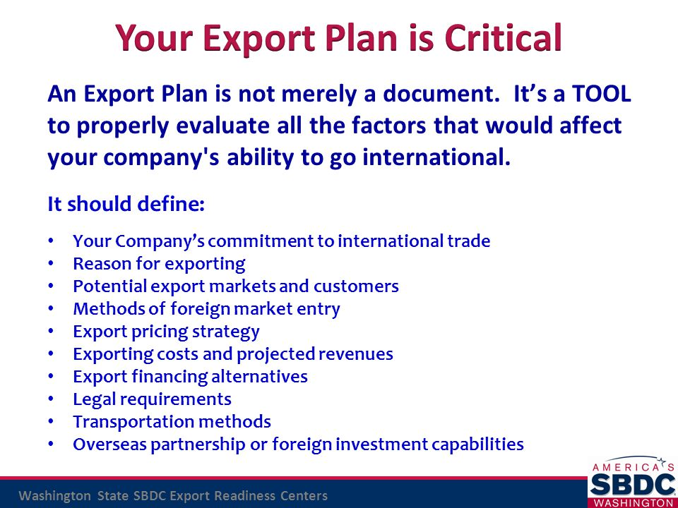 Your Export Plan is Critical