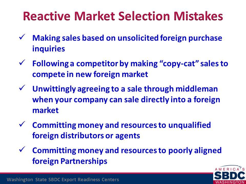 Reactive Market Selection Mistakes