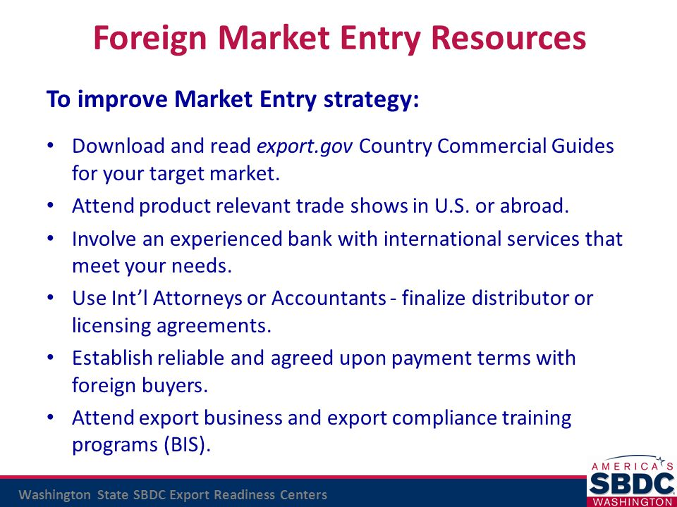 Foreign Market Entry Resources