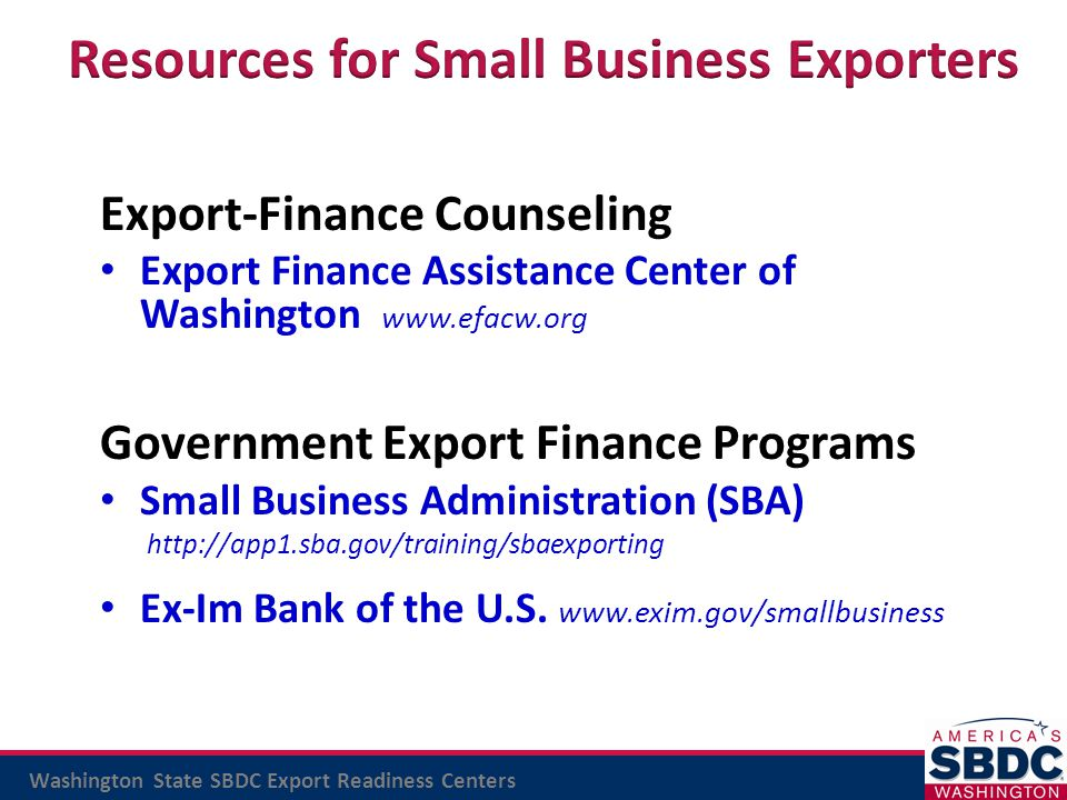 Resources for Small Business Exporters