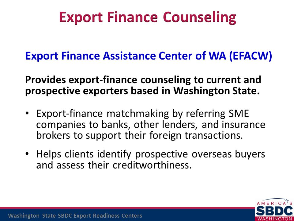 Export Finance Counseling