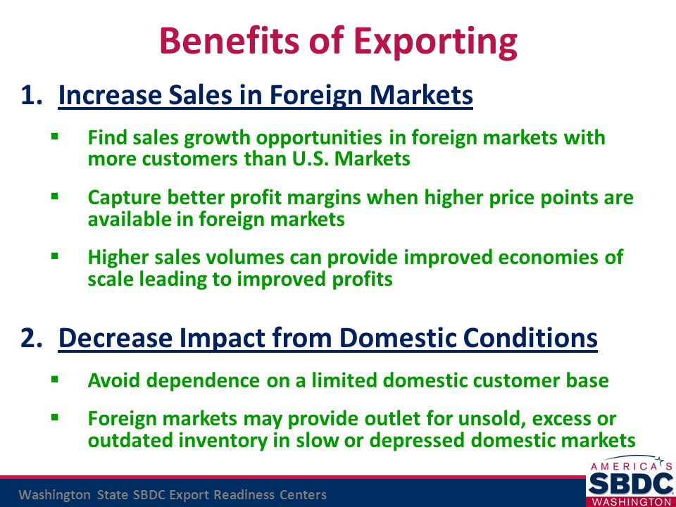 Benefits of Exporting Increase Sales in Foreign Markets