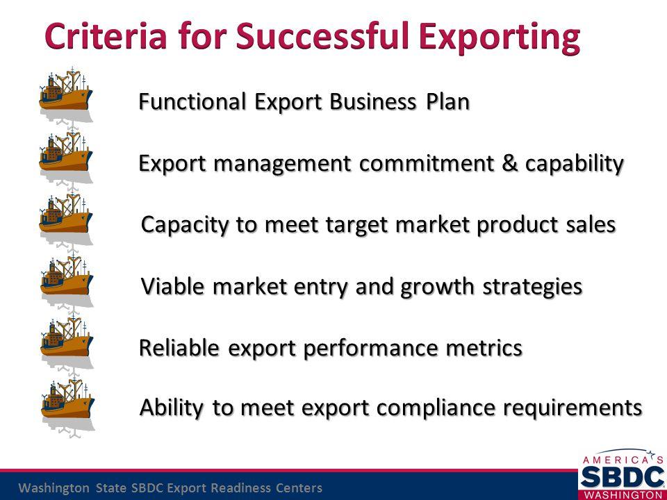 Criteria for Successful Exporting