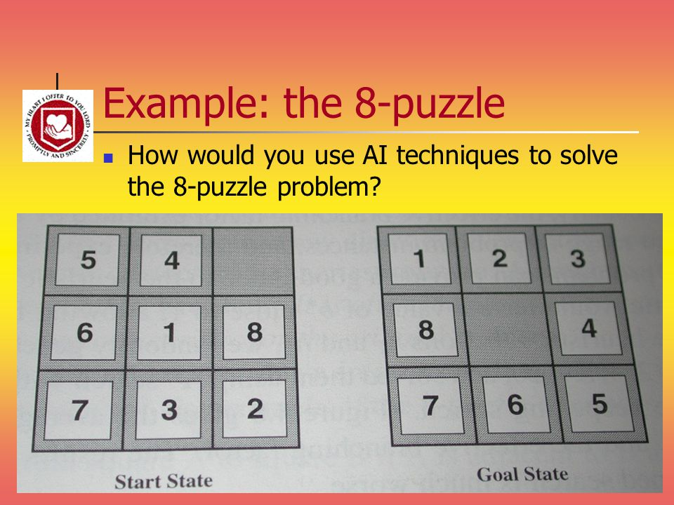 Example: the 8-puzzle How would you use AI techniques to solve the 8-puzzle problem