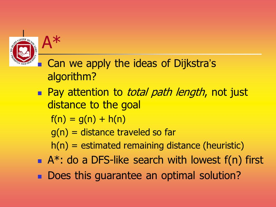 A* Can we apply the ideas of Dijkstra's algorithm