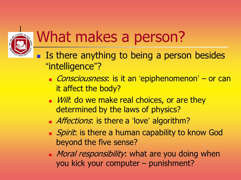 What makes a person Is there anything to being a person besides intelligence