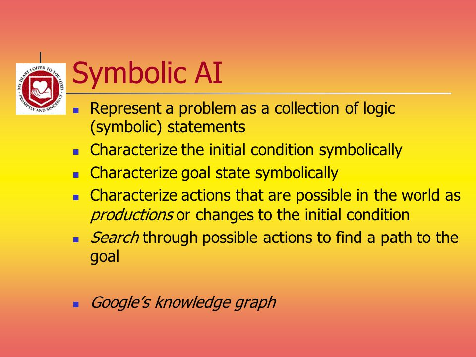 Symbolic AI Represent a problem as a collection of logic (symbolic) statements. Characterize the initial condition symbolically.