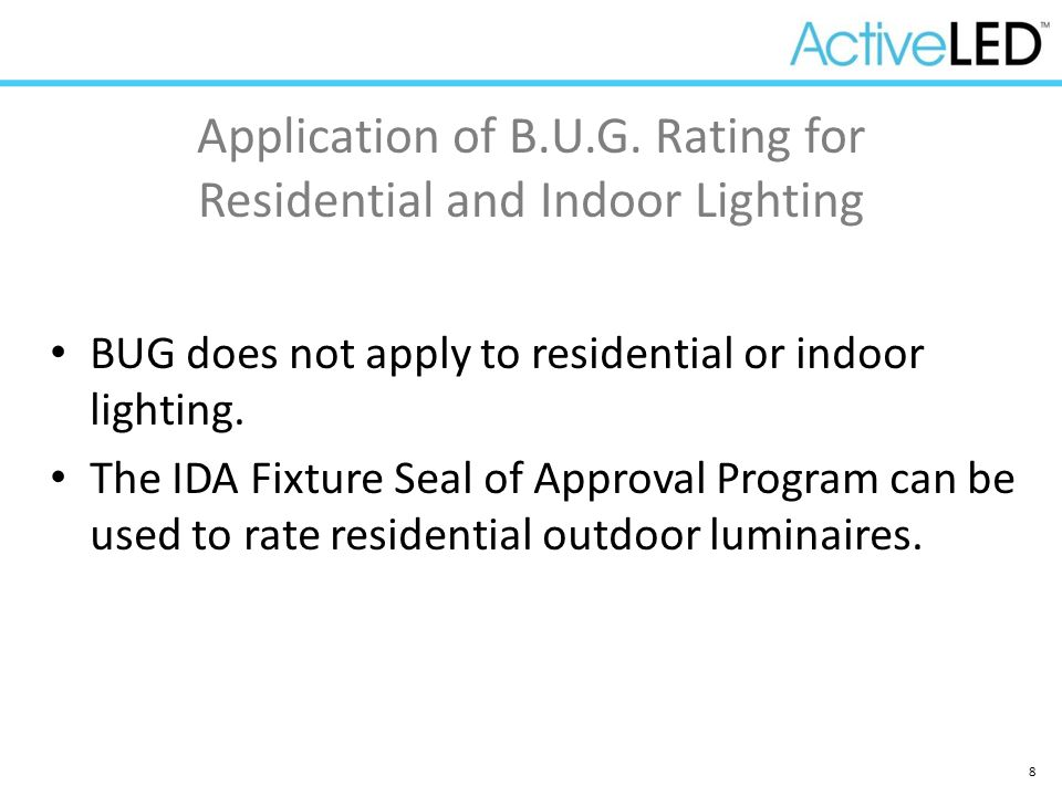 Application of B.U.G. Rating for Residential and Indoor Lighting