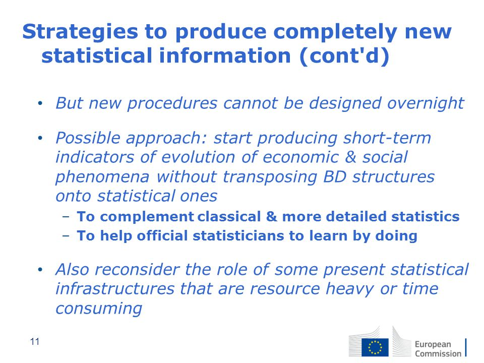 Strategies to produce completely new statistical information (cont d)