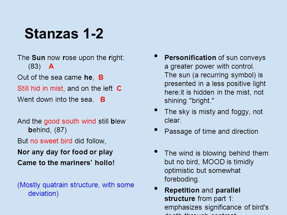 Stanzas 1-2 The Sun now rose upon the right: (83) A