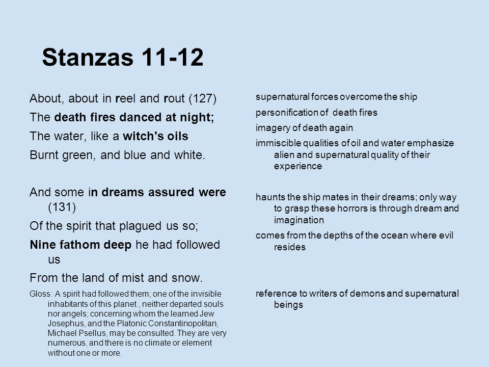Stanzas 11-12 About, about in reel and rout (127)
