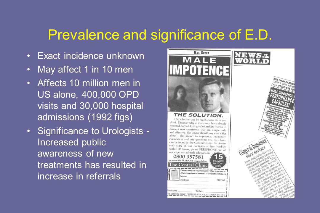 Prevalence and significance of E.D.
