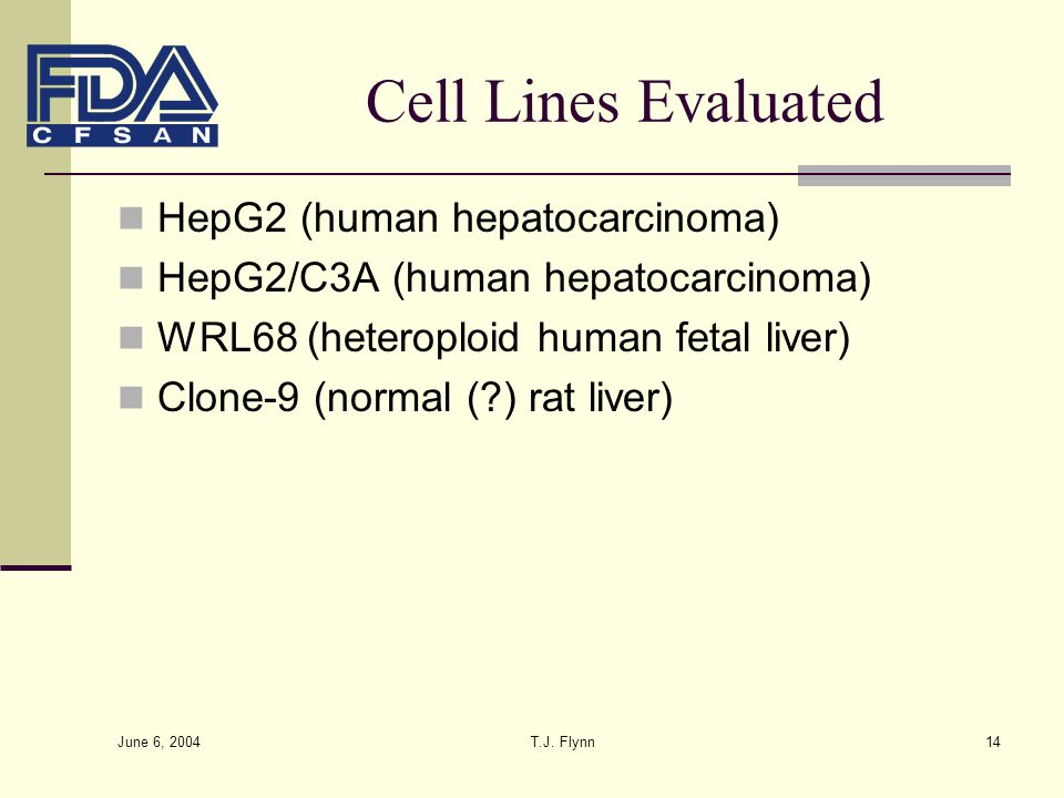 Cell Lines Evaluated HepG2 (human hepatocarcinoma)