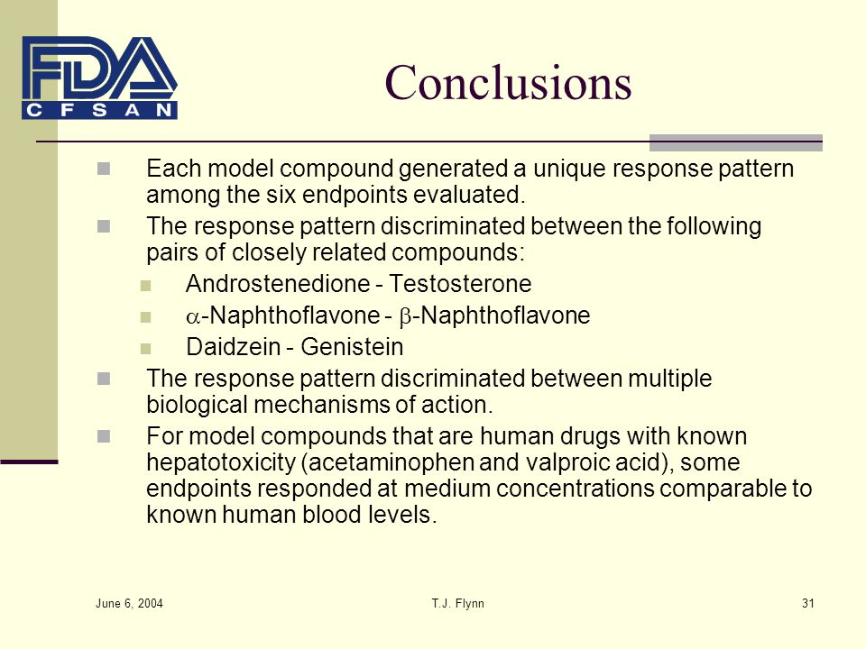 Conclusions Each model compound generated a unique response pattern among the six endpoints evaluated.