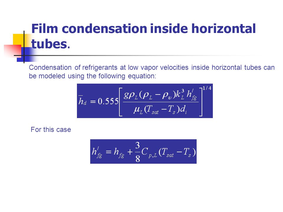 Film condensation inside horizontal tubes.