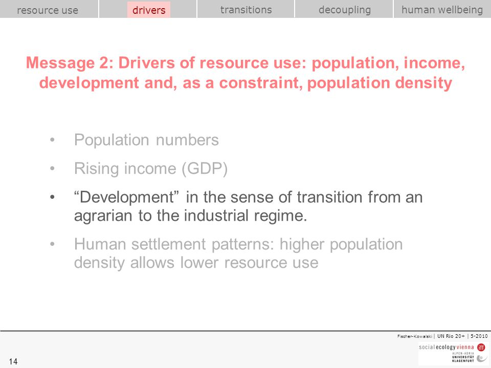 drivers Message 2: Drivers of resource use: population, income, development and, as a constraint, population density.