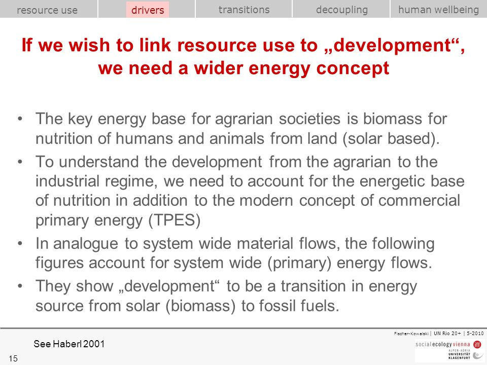 "drivers If we wish to link resource use to ""development , we need a wider energy concept."