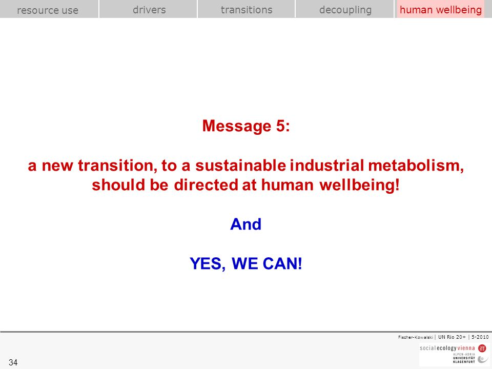 human wellbeing Message 5: a new transition, to a sustainable industrial metabolism, should be directed at human wellbeing! And YES, WE CAN!