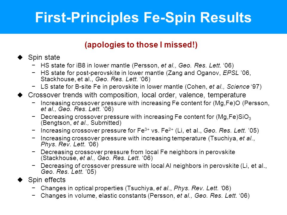 First-Principles Fe-Spin Results