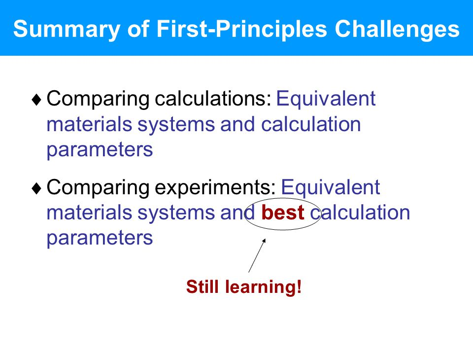Summary of First-Principles Challenges