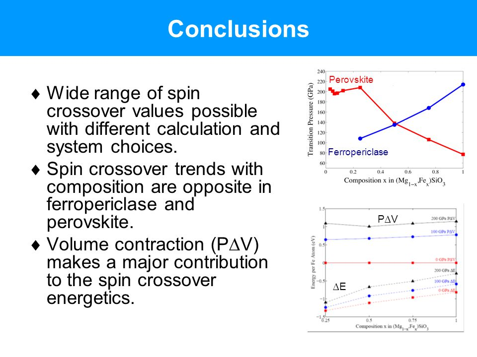 Conclusions Ferropericlase. Perovskite. Wide range of spin crossover values possible with different calculation and system choices.