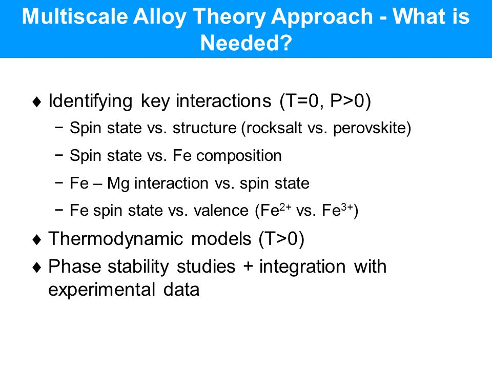 Multiscale Alloy Theory Approach - What is Needed