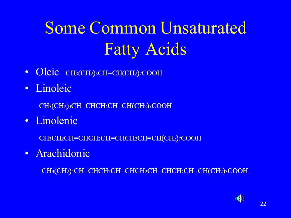 Some Common Unsaturated Fatty Acids
