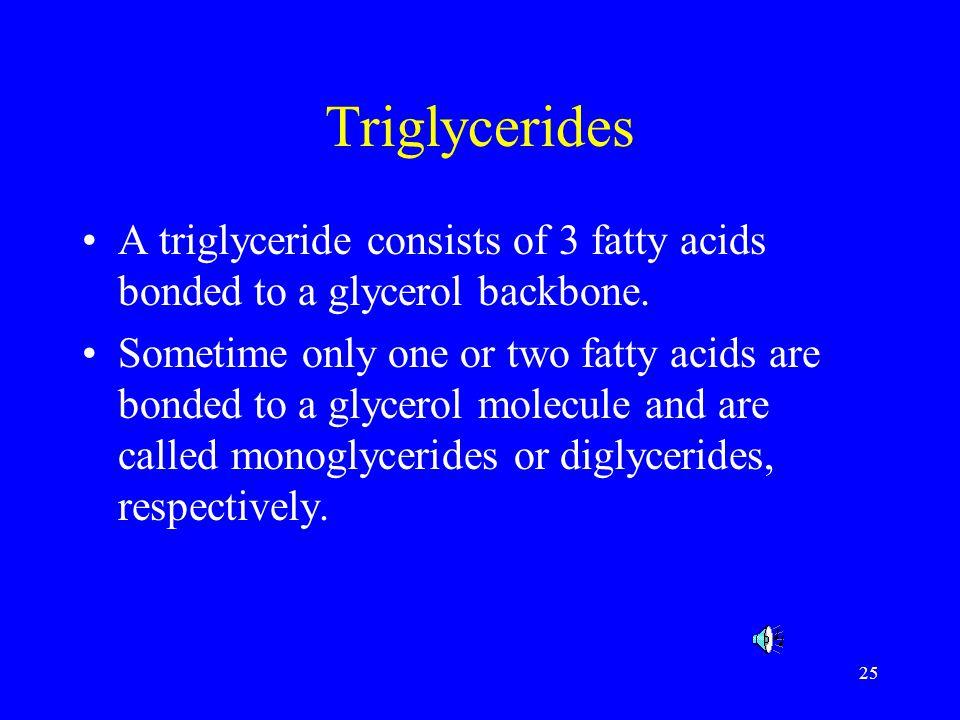 Triglycerides A triglyceride consists of 3 fatty acids bonded to a glycerol backbone.