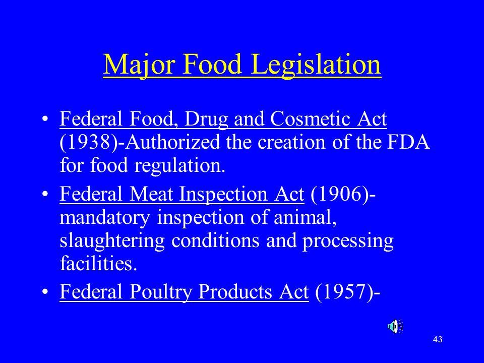 Major Food Legislation