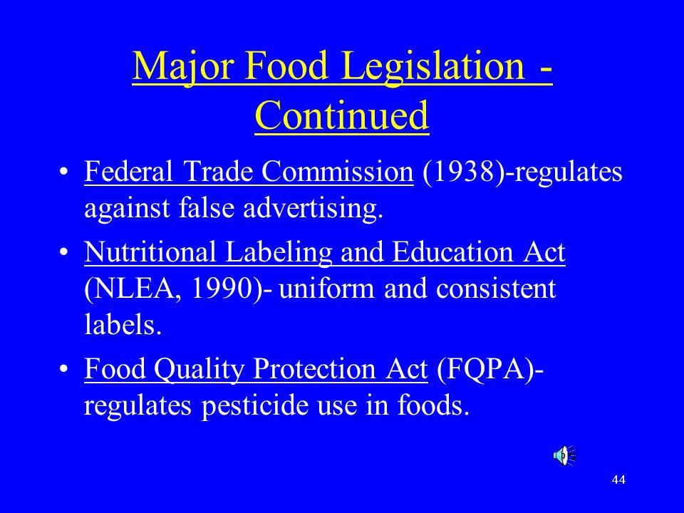 Major Food Legislation -Continued