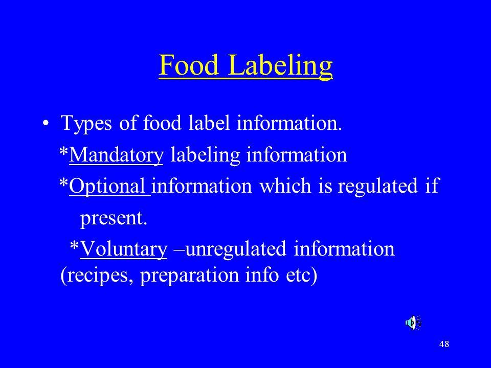 Food Labeling Types of food label information.