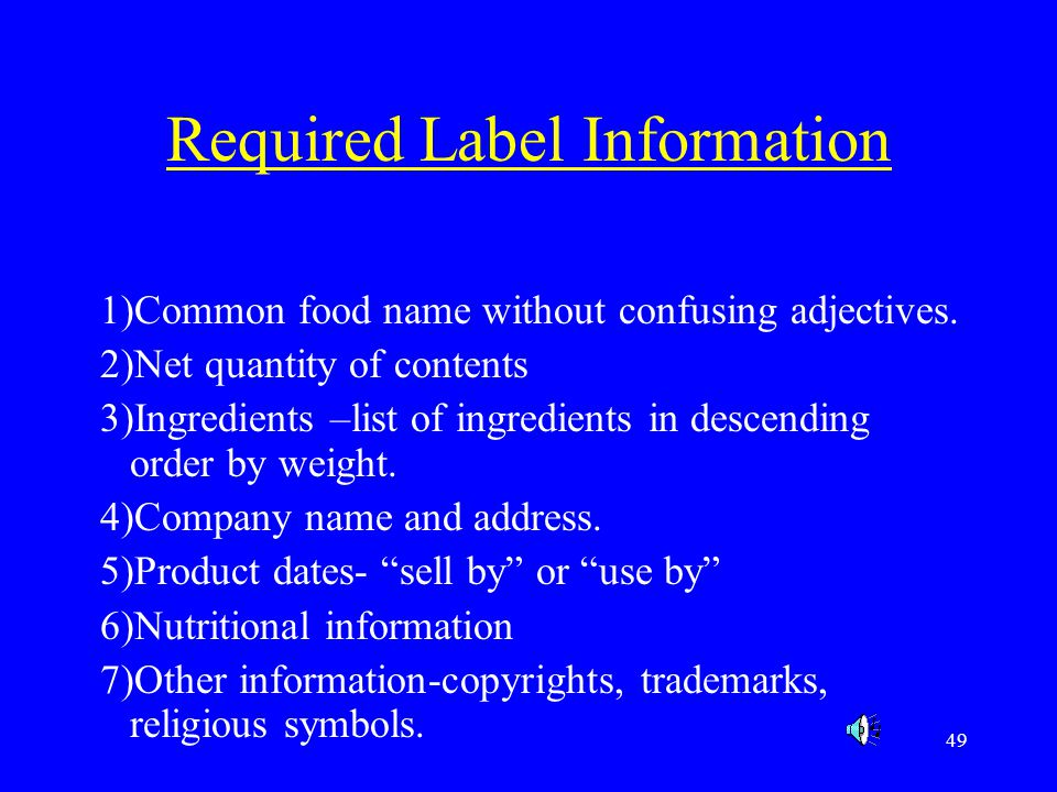 Required Label Information
