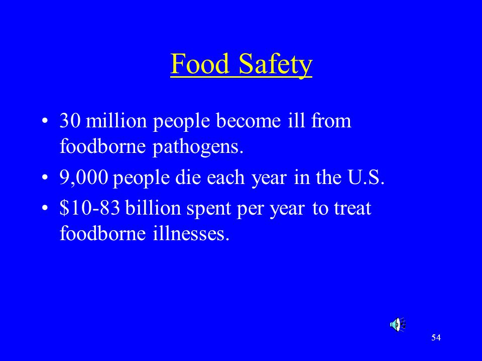 Food Safety 30 million people become ill from foodborne pathogens.