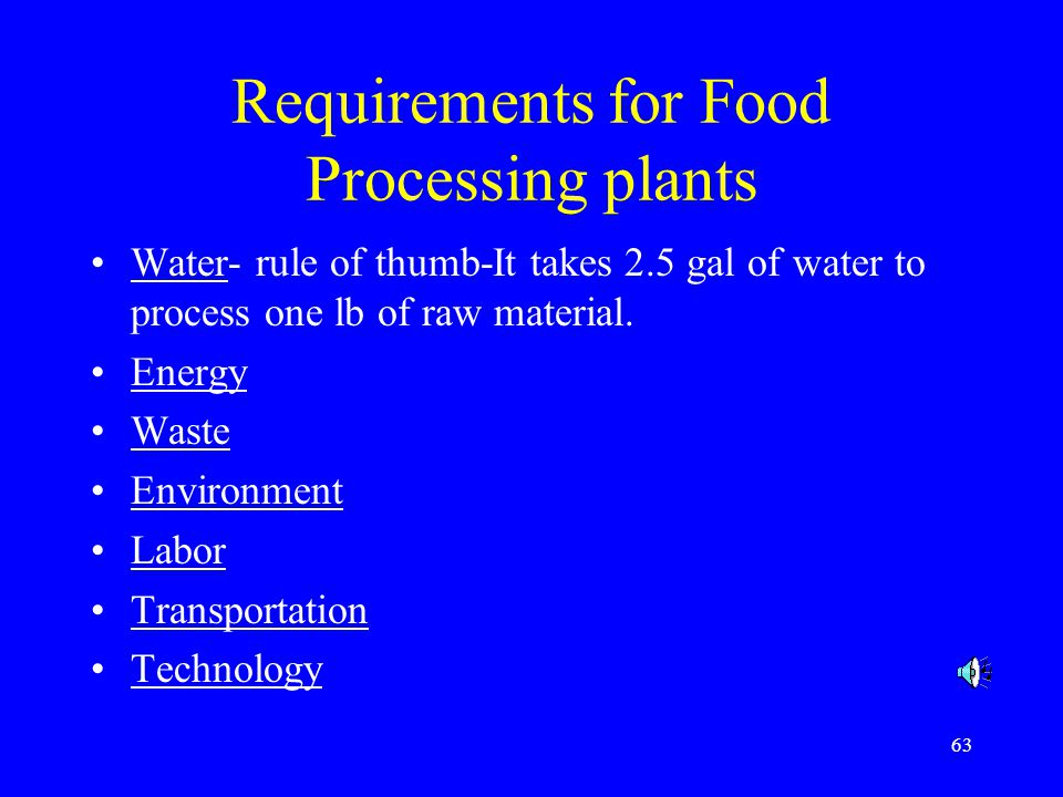 Requirements for Food Processing plants