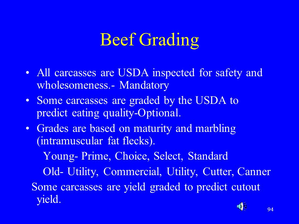 Beef Grading All carcasses are USDA inspected for safety and wholesomeness.- Mandatory.