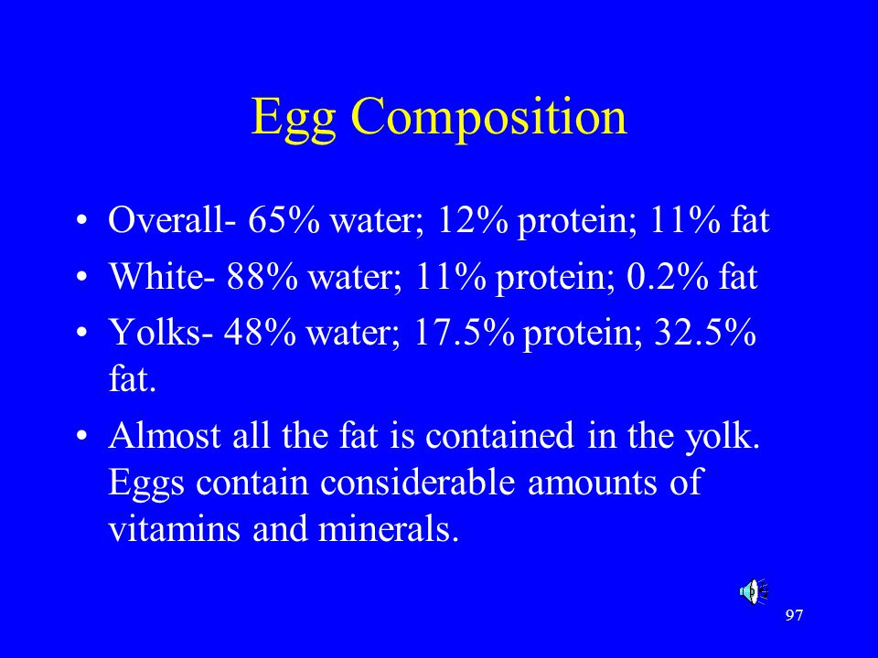 Egg Composition Overall- 65% water; 12% protein; 11% fat