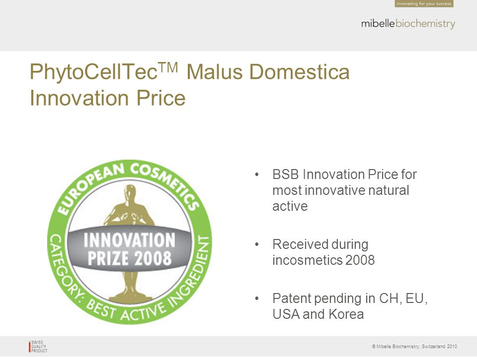 PhytoCellTecTM Malus Domestica Innovation Price