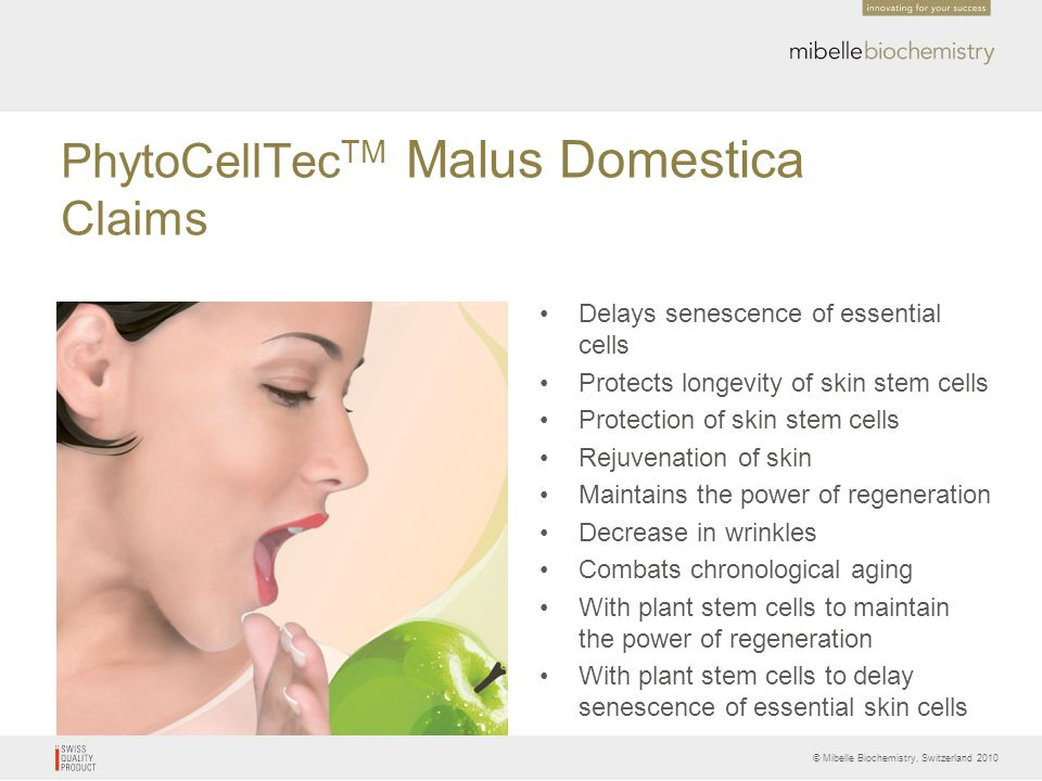 PhytoCellTecTM Malus Domestica Claims