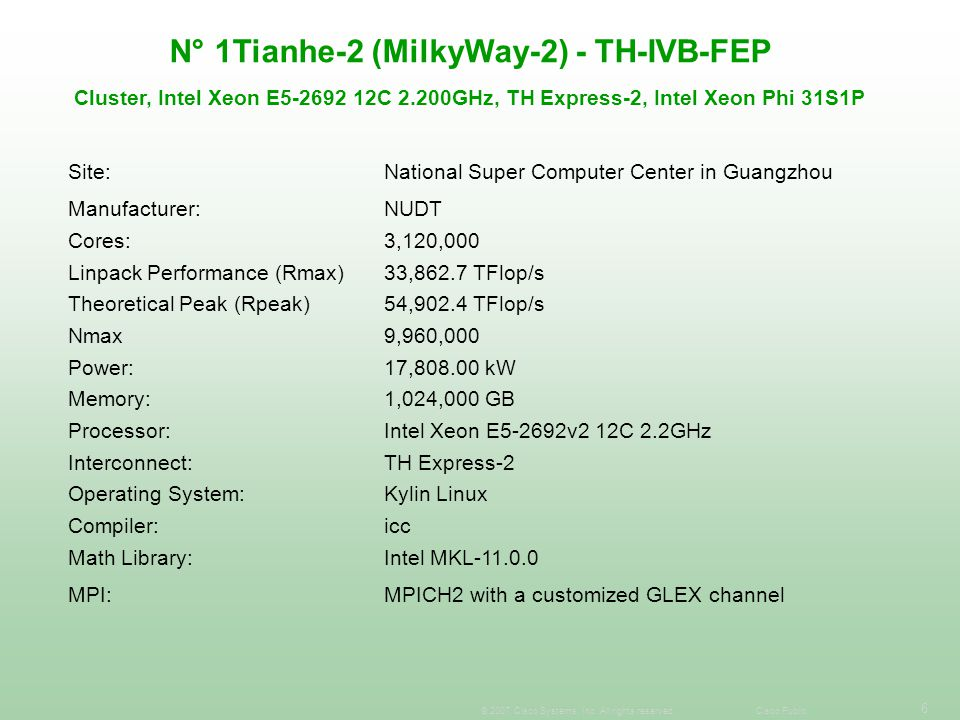 N° 1Tianhe-2 (MilkyWay-2) - TH-IVB-FEP Cluster, Intel Xeon E5-2692 12C 2.200GHz, TH Express-2, Intel Xeon Phi 31S1P