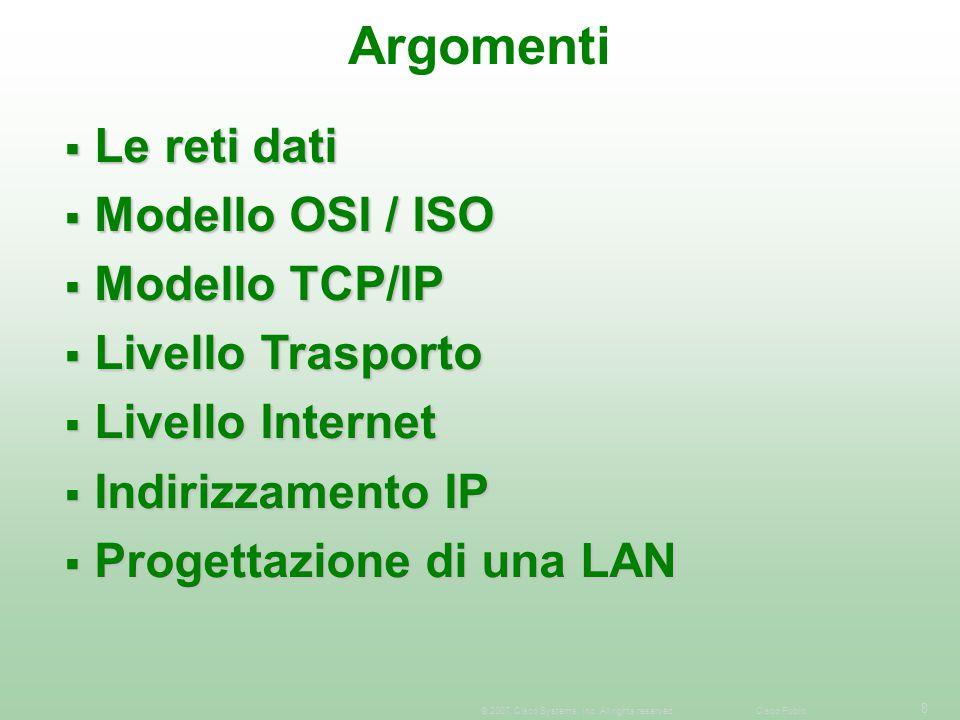 Argomenti Le reti dati Modello OSI / ISO Modello TCP/IP