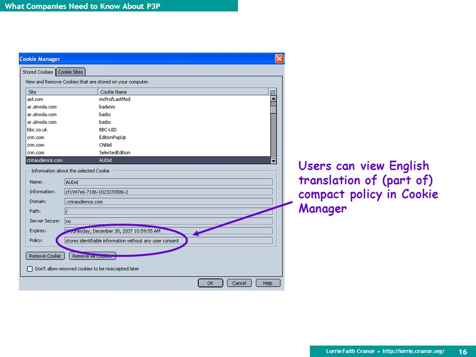 Users can view English translation of (part of) compact policy in Cookie Manager