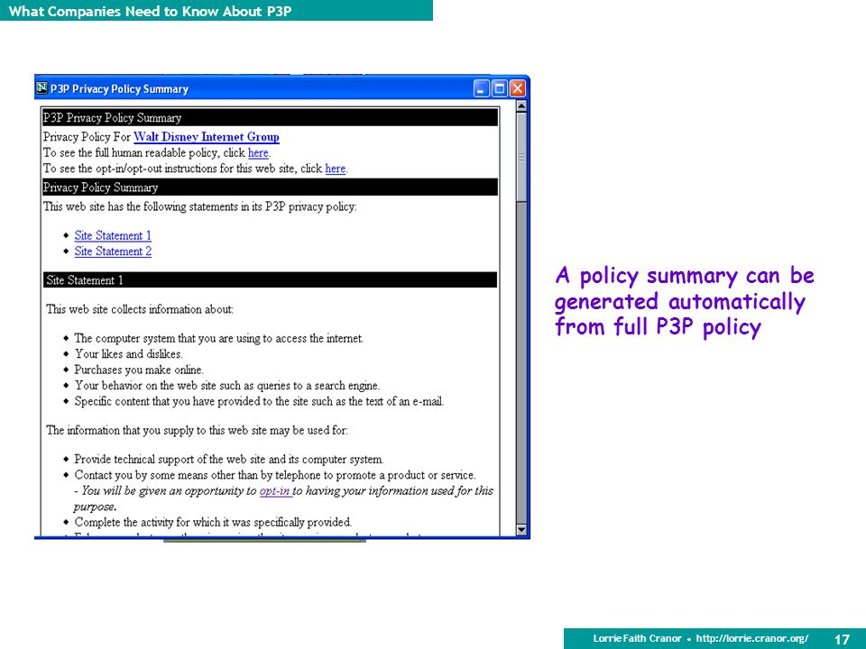 A policy summary can be generated automatically from full P3P policy