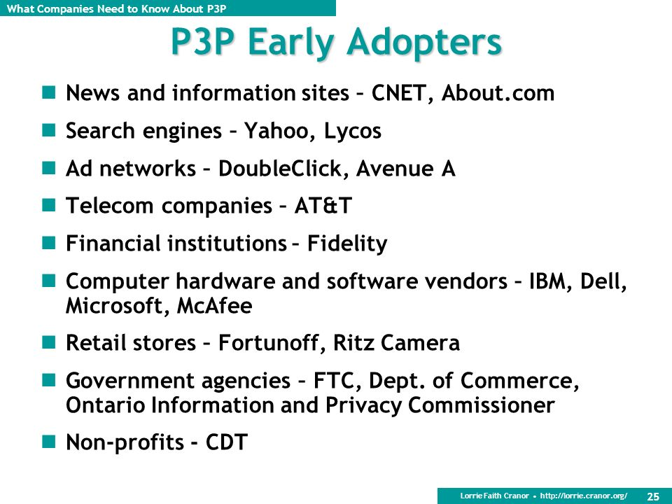 P3P Early Adopters News and information sites – CNET, About.com