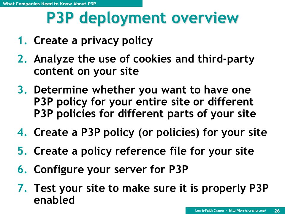 P3P deployment overview