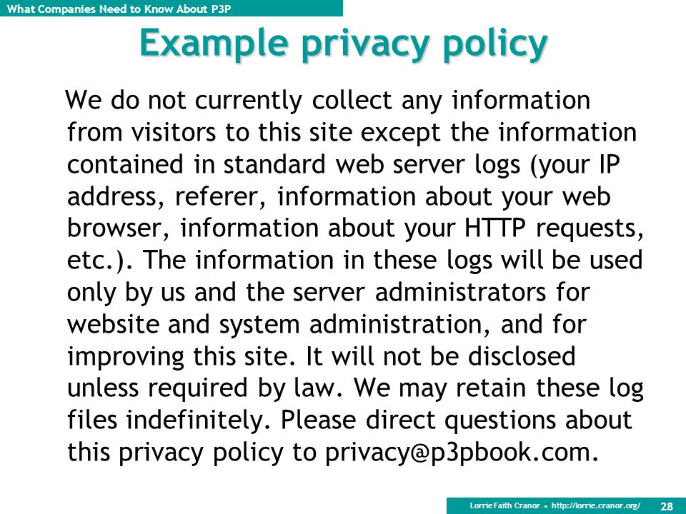 Example privacy policy