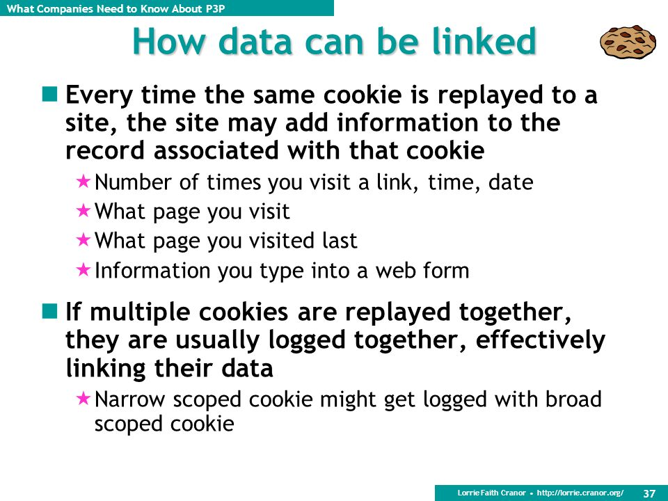 How data can be linked Every time the same cookie is replayed to a site, the site may add information to the record associated with that cookie.