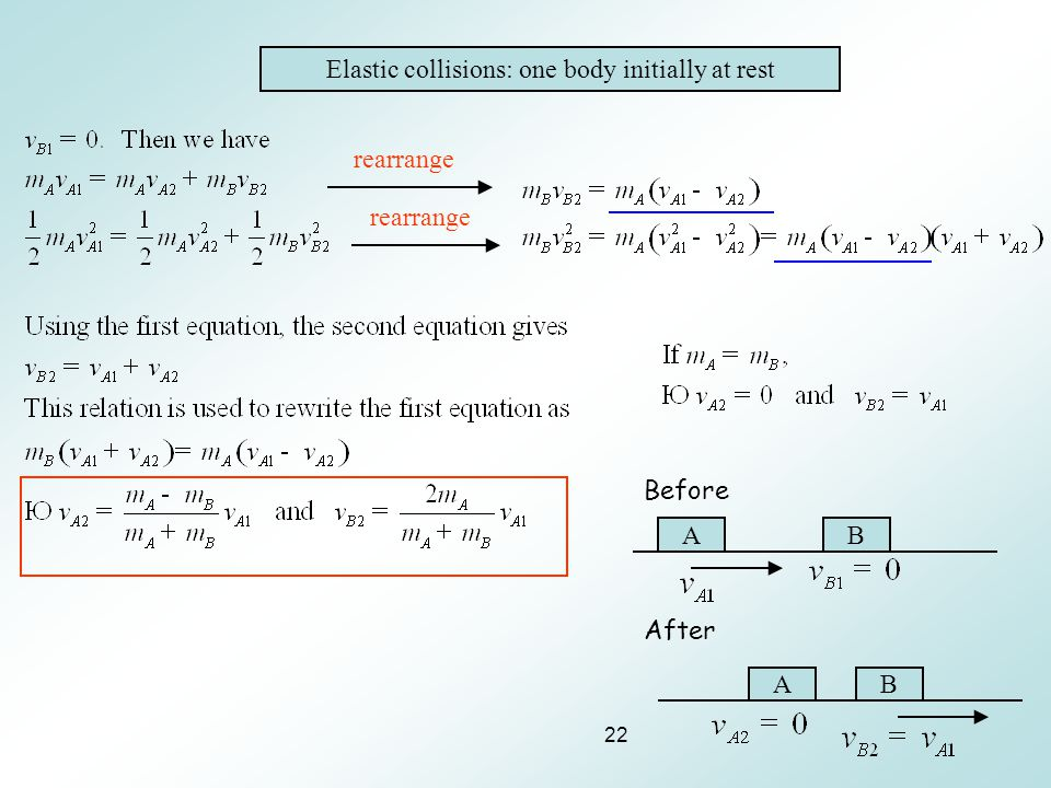 Elastic collisions: one body initially at rest