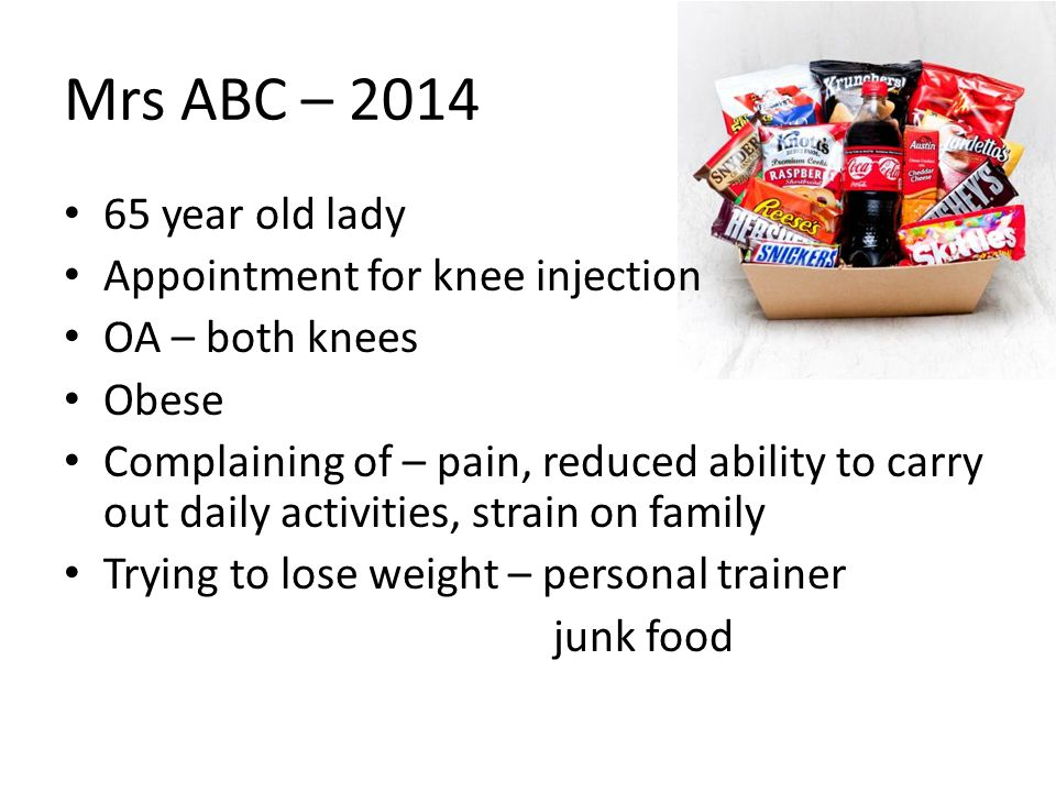 Mrs ABC – 2014 65 year old lady Appointment for knee injection