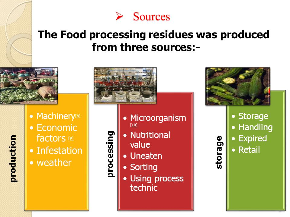 The Food processing residues was produced from three sources:-